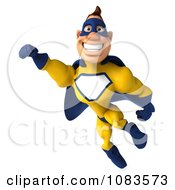 Clipart 3d Male Super Hero Flying In A Blue And Yellow Suit 5 Royalty Free CGI Illustration