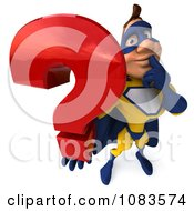 Clipart 3d Male Super Hero In A Blue And Yellow Suit With A Question 3 Royalty Free CGI Illustration