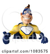 Clipart 3d Male Super Hero In A Blue And Yellow Suit With A Sign 1 Royalty Free CGI Illustration