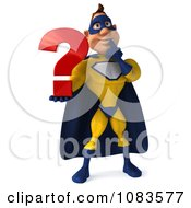 Clipart 3d Male Super Hero In A Blue And Yellow Suit With A Question 1 Royalty Free CGI Illustration