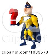 Clipart 3d Male Super Hero In A Blue And Yellow Suit With A Question 2 Royalty Free CGI Illustration