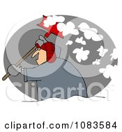 Clipart Man Shoveling Snow At Night Royalty Free Illustration