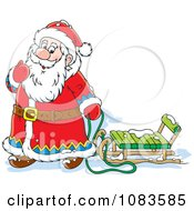 Clipart Santa Playing In The Snow With A Sled Royalty Free Vector Illustration