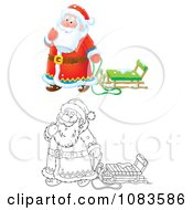Clipart Outlined And Colored Santas Playing In The Snow With A Sled Royalty Free Vector Illustration