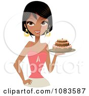 Clipart Gorgeous Black Woman Holding A Cake Royalty Free Vector Illustration