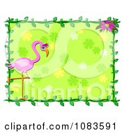Green Frame With A Flamingo And Vine