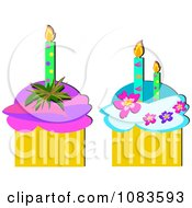 Two Birthday Cupcakes With Candles And Flowers