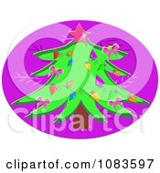 Christmas Tree On A Purple Oval