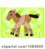 Clipart Brown Pony With A Green Floral Background Royalty Free Vector Illustration by bpearth