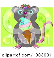 Clipart Mouse With Ice Cream And A Green Floral Square Royalty Free Vector Illustration by bpearth