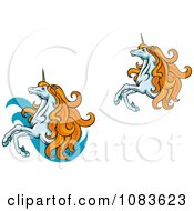Clipart Two Unicorns With Orange Manes Royalty Free Vector Illustration