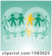 Clipart Yellow Paper Person Holding Hands With Green People Royalty Free Vector Illustration