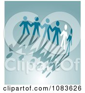 Clipart White Paper Person Holding Hands With Blue People Royalty Free Vector Illustration