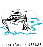 Clipart Cruiseliner At Sea With Gulls Royalty Free Vector Illustration by Vector Tradition SM