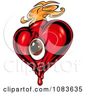 Clipart Red Heart With A Brown Eye And Orange Flames Royalty Free Vector Illustration