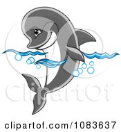 Clipart Gray Dolphin Floating In The Surf Royalty Free Vector Illustration by Vector Tradition SM