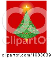 Clipart Christmas Tree With A Shining Star On Red With Swirls Royalty Free Vector Illustration