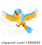 Clipart Cute Blue And Orange Bird In Flight Royalty Free Vector Illustration