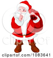 Clipart Santa Covering His Mouth With His Finger And Carrying His Bag Royalty Free Vector Illustration