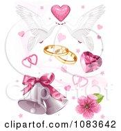 Clipart Wedding Doves Hearts And Bells Royalty Free Vector Illustration
