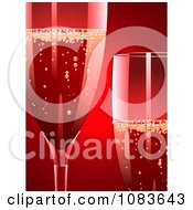 Clipart 3d Champagne Glasses Against Red Royalty Free Vector Illustration by elaineitalia