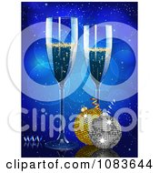 Clipart 3d Champagne Glasses And Baubles Against Blue Royalty Free Vector Illustration by elaineitalia