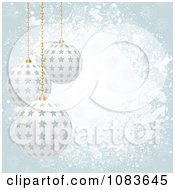 Clipart Grungy Blue Christmas Background With 3d Starry Baubles Royalty Free Vector Illustration by elaineitalia