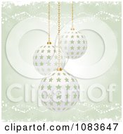 Clipart Green Christmas Background With 3d Starry Baubles Royalty Free Vector Illustration by elaineitalia
