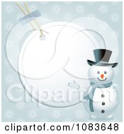 Clipart 3d Snowman Presenting A Blank Label Background Royalty Free Vector Illustration by elaineitalia