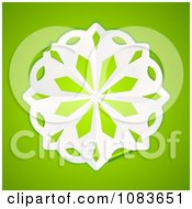 3d White Paper Snowflake On Green