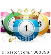 Clipart 3d King Bingo Or Lottery Ball With Other Balls Royalty Free Vector Illustration