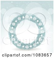 Clipart 3d Blue Christmas Wreath Against Snow Royalty Free Vector Illustration by elaineitalia