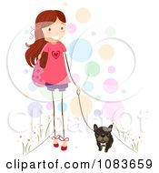 Cute Stick Girl Walking Her Brindle French Bulldog