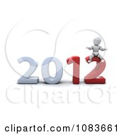 Clipart 3d White Character Sitting On 2012 New Year Royalty Free CGI Illustration
