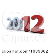 Clipart 3d White Character In The 0 Of 2012 New Year Royalty Free CGI Illustration