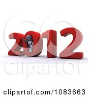 Clipart 3d Robot In The 0 Of 2012 New Year Royalty Free CGI Illustration