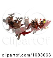 3d Tortoise Santa Flying A Sleigh With Reindeer