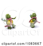 Clipart 3d Tortoises Having A Snowball Fight Royalty Free CGI Illustration