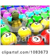3d Tortoise With Colorful Bingo Or Lottery Balls
