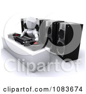 Clipart 3d White Character DJ Mixing Records At A Turn Table Royalty Free CGI Illustration