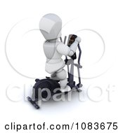 Clipart 3d White Character Exercising On A Gym Crosstrainer Royalty Free CGI Illustration