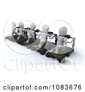 Clipart 3d White Characters Exercising On Treadmills Royalty Free CGI Illustration by KJ Pargeter