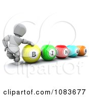 Clipart 3d White Character With Bingo Balls Royalty Free CGI Illustration by KJ Pargeter
