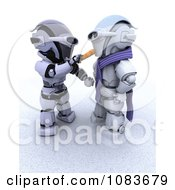 Clipart 3d Robot Making A Robots Snowman With A Carrot Nose Royalty Free CGI Illustration