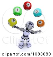 Clipart 3d Robot Juggling Bingo Balls Royalty Free CGI Illustration by KJ Pargeter