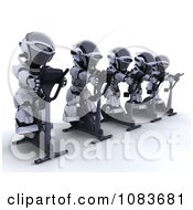 Clipart 3d Robots Exercising On Gym Crosstrainers Royalty Free CGI Illustration