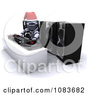 Clipart 3d Robot Dj Mixing Music At A Christmas Party Royalty Free CGI Illustration by KJ Pargeter