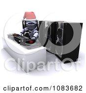 Clipart 3d Robot Dj Mixing Music At A Christmas Party Royalty Free CGI Illustration