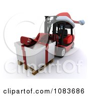 Clipart 3d Forklift With A Santa Hat And Gift Royalty Free CGI Illustration
