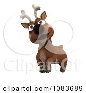 Clipart 3d Happy Christmas Reindeer Royalty Free CGI Illustration by KJ Pargeter